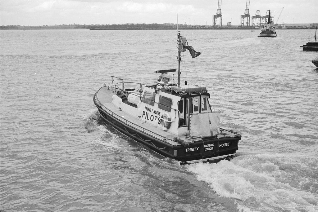 Detail of The Trinity House 'Vagabond' leaving Harwich Pier, 1986 by unknown