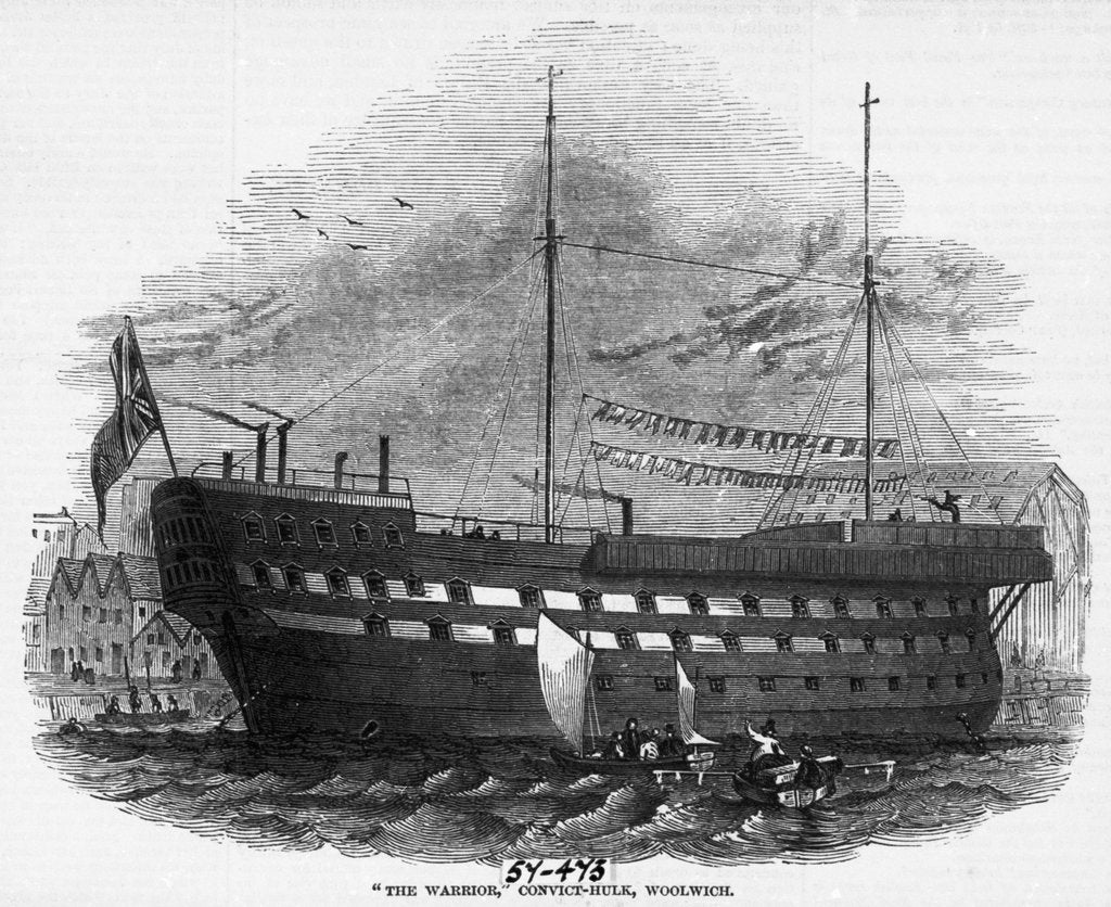 The hulk 'Warrior' (1781) anchored off Woolwich by unknown
