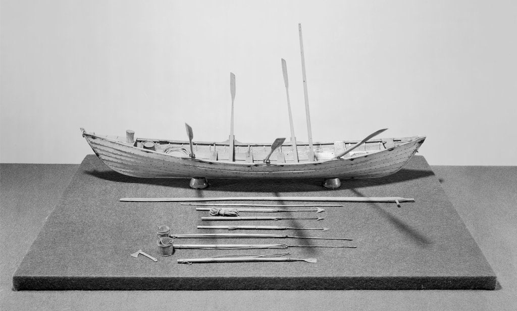 Detail of Six-oared American whaleboat, starboard broadside by unknown