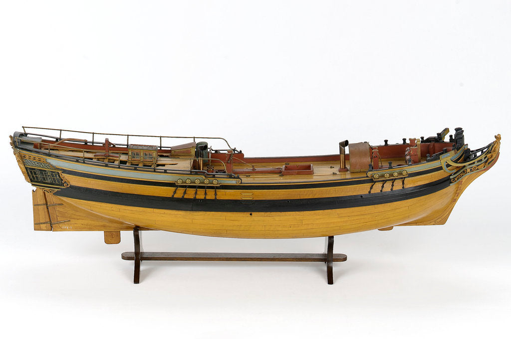 Detail of Full hull model of a merchant brig (circa 1795) by unknown