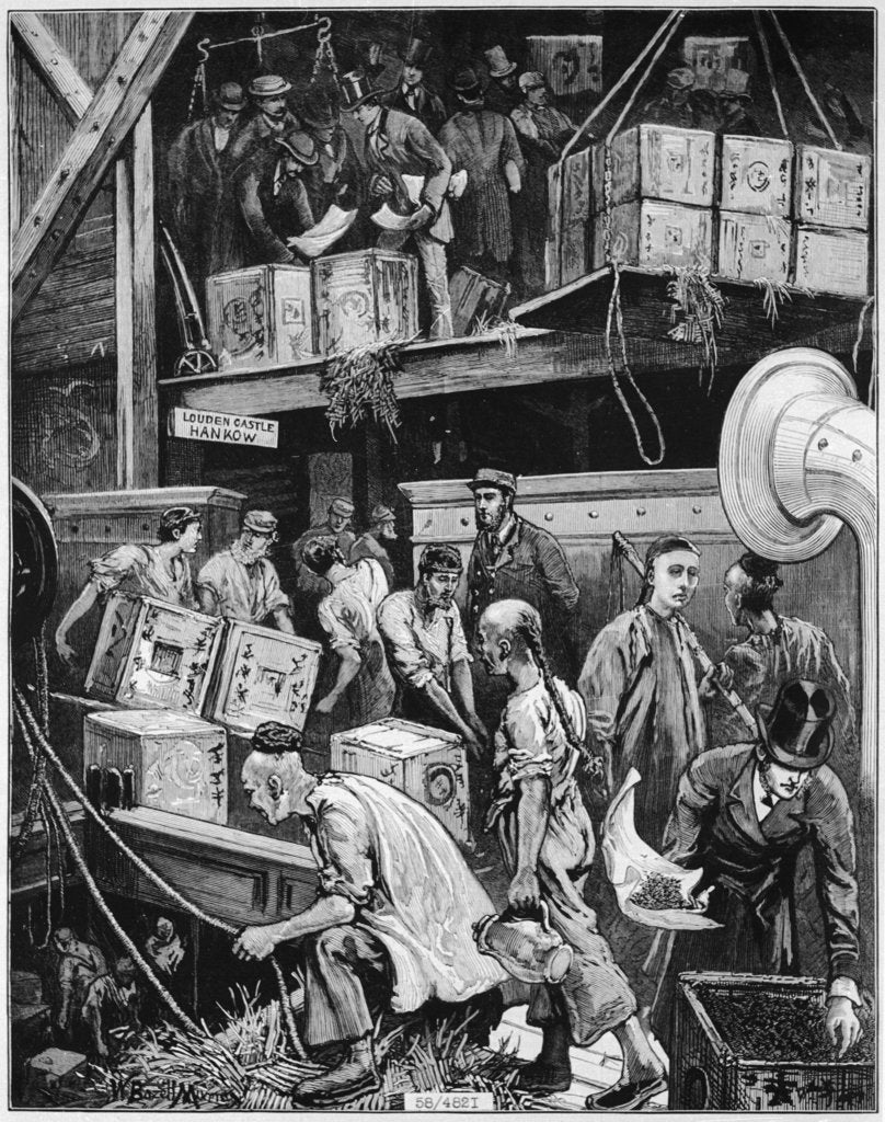 Detail of In December 1877 the 'Louden Castle' discharged 40,000 packages of China tea at the London Docks by Illustrated London News December 1877 page 544