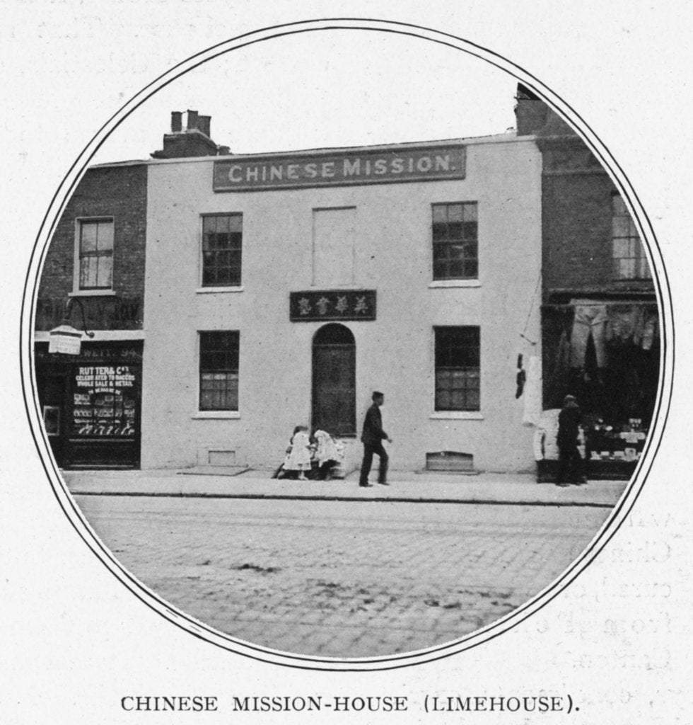 Detail of The Chinese Mission House in Limehouse, run by the Reverend George Piercy. Piercy had spent 30 years as an Anglican missionary in China. by G.R. Sims