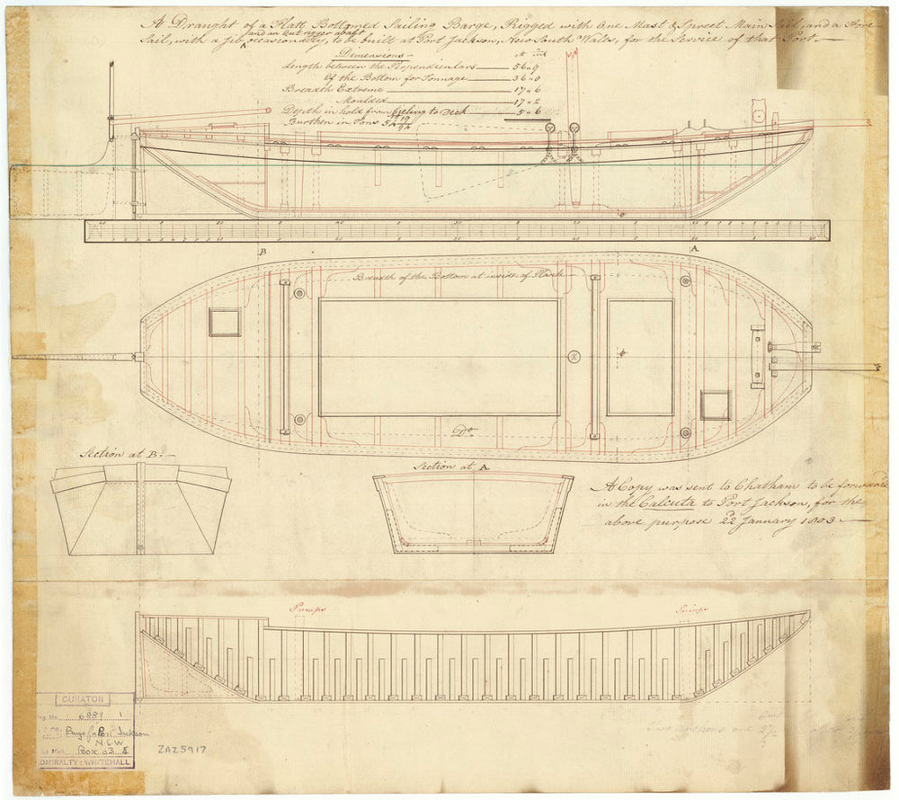 56ft Flat-bottomed Sailing Barge (1803)