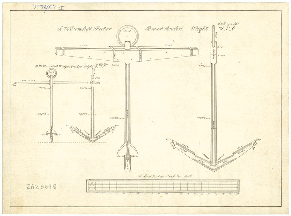 Bower and Kedge Anchors with tables of weights and anchor allocations for 74-gun Ships (no date)