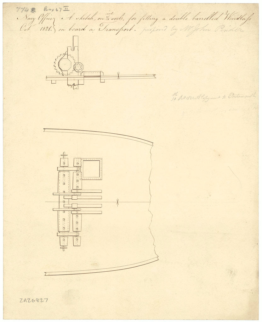Proposed double-barrelled windlass on a Transport.
