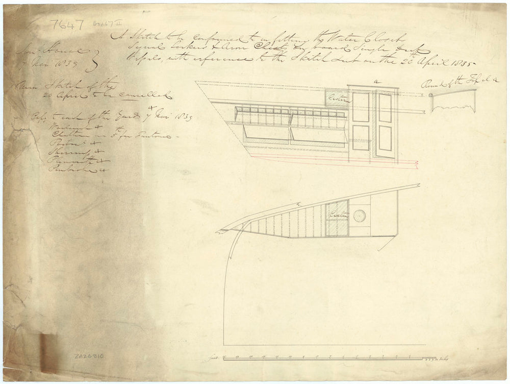 Water Closet, Signal Locker, and Arms Chests for single deck vessels (circal 1839), specifically Fantome (1839)