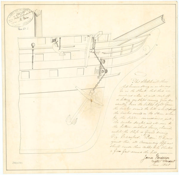 Sketch for the stowage and release of anchors (1848)