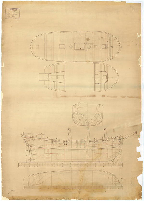 Unnamed 60ft two-masted Schooner, with modifications for a one-masted Cutter/Sloop (no date)