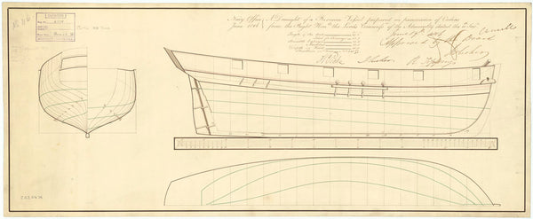 Body plan for 67ft, 140 ton, Revenue Cutters