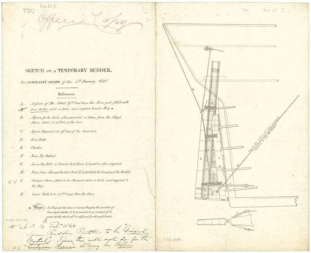 Elevation of a temporary rudder for warships (circa 1840)