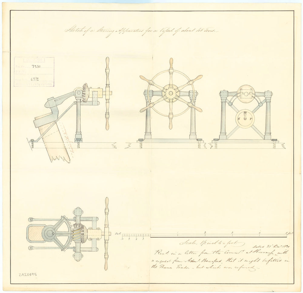 Steering apparatus for a vessel of about 45 tons