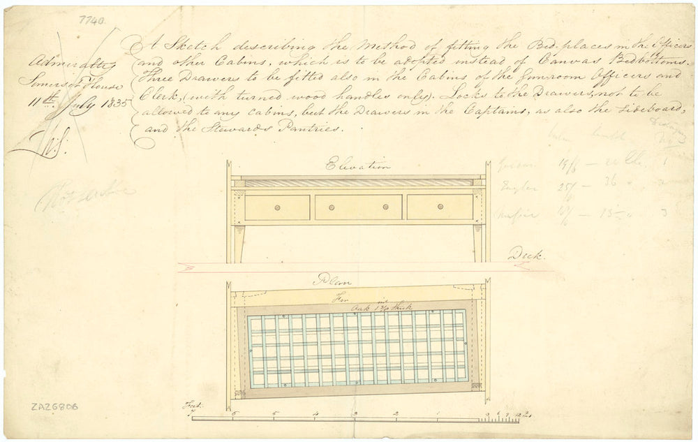 Bed places for officers and other cabins (circa 1835)