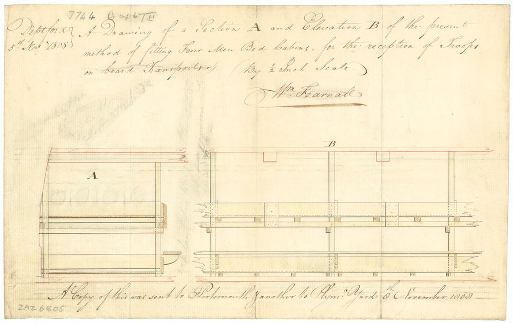 4-man bed cabins on Troopships (1808)
