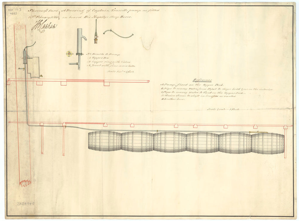 Pumping system as designed by Captain Truscott and fitted to Havock (1805)