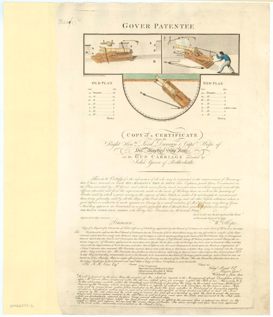 Certificate for Gover's Gun Carriage Patent confirming the design used on Kent (1798)