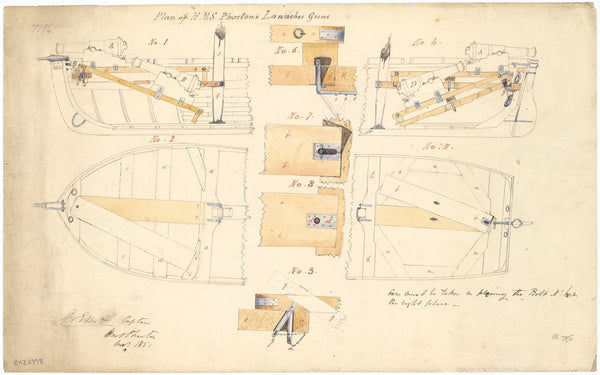 Method of fitting guns to the launch of Phaeton (1848)