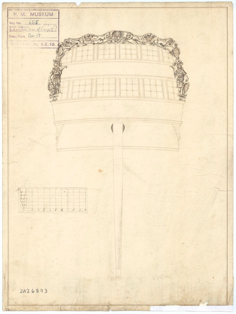 Stern board decoration for a Third Rate, two-decker or large Fourth Rate Frigate
