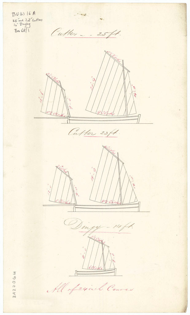 Sail plans for 23ft Cutter, 25ft Cutter, and 14ft Dinghy