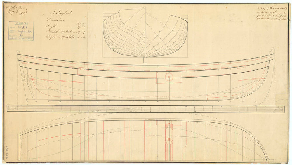 Lines plan for a 29 foot Longboat. Used for building the 'Adament' (1780) a 4th rate two decker, 50 guns.