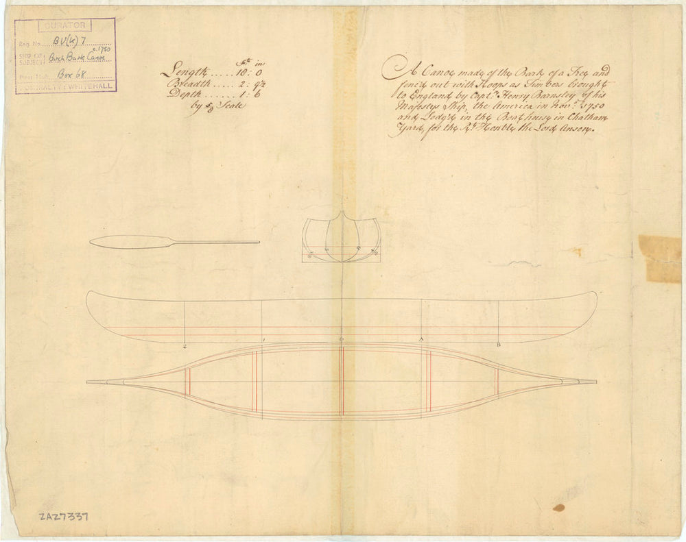 A plan showing the body plan, sheer lines, and longitudinal plan for an 18ft bark canoe