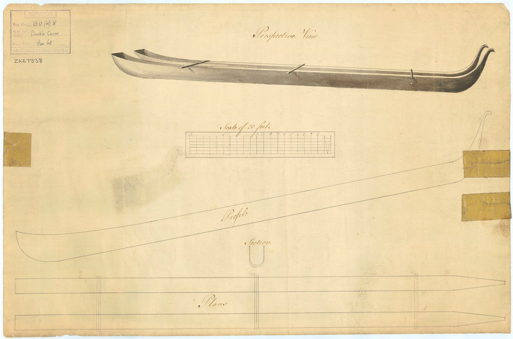 Profile and section plans of double canoe