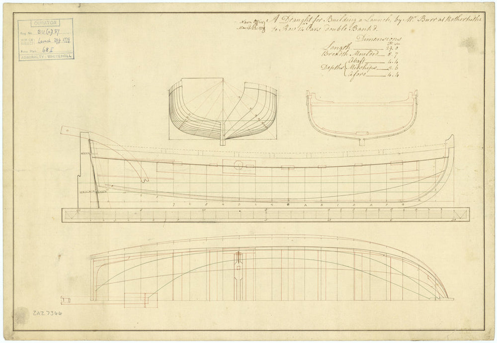 Line and profile plan of a 29ft, 14-oared launch to be built by Mr Burr at Rotherhithe, 1779