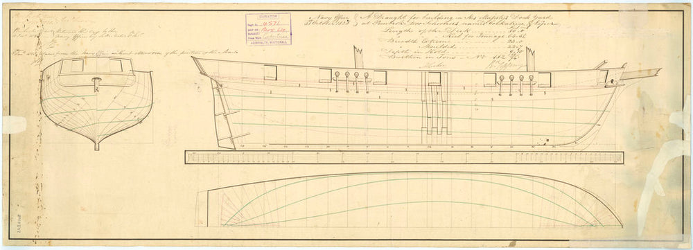 Lines plan of the Cockatrice (1832) and Viper (1831)