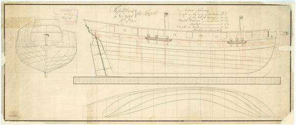 Lines & Profile plan for Advice Schooner