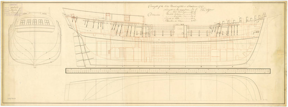 Ship plan showing the body plan, sheer lines with inboard detail as fitted for Hecla (1798)