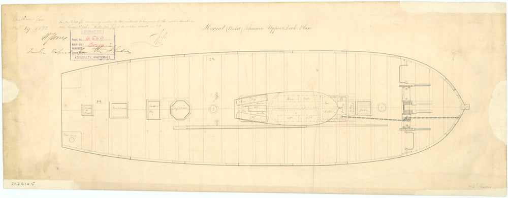 Upper deck plan for the Hornet (1831)