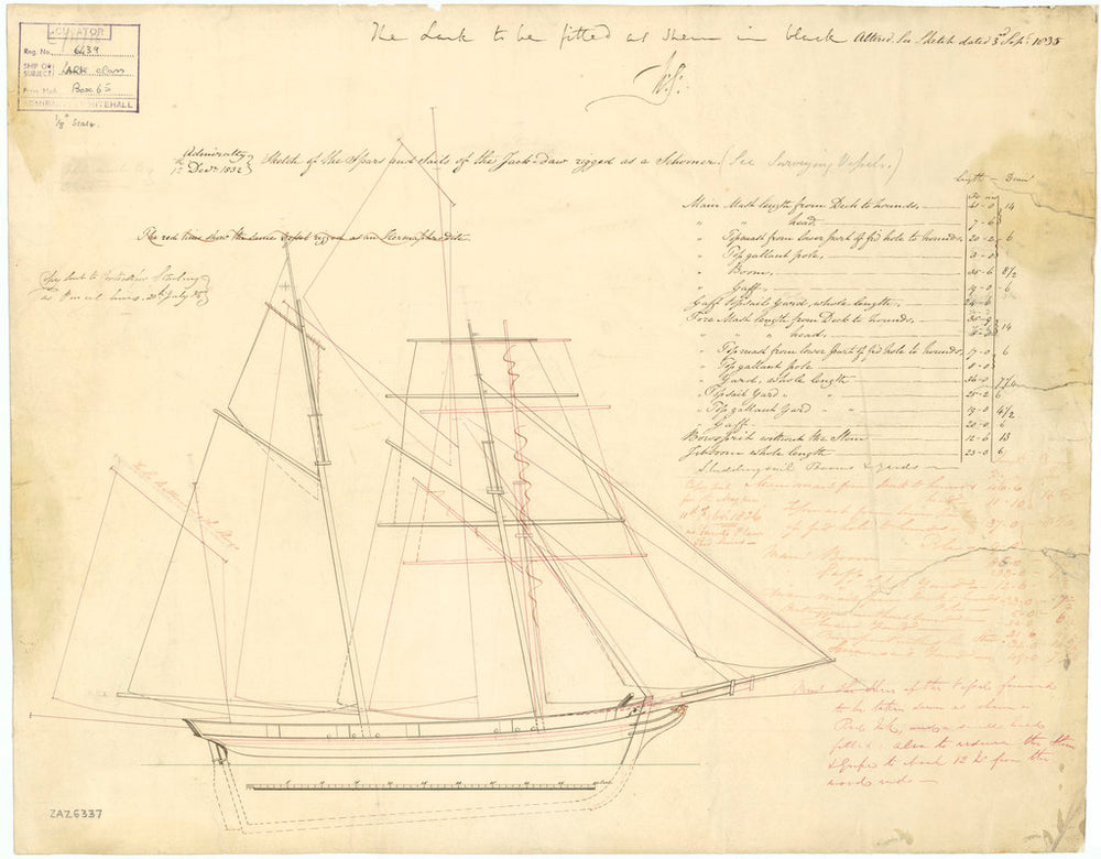 Sail plan for the Jackdaw (1830), Lark (1830), Magpie (1830), Raven (1829) and Starling (1829)