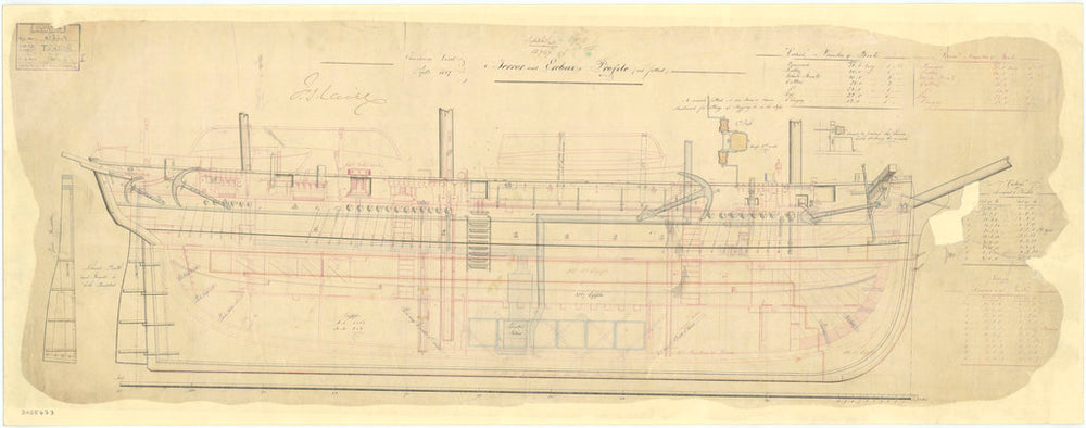 Profile plan of 'Terror' (1839)