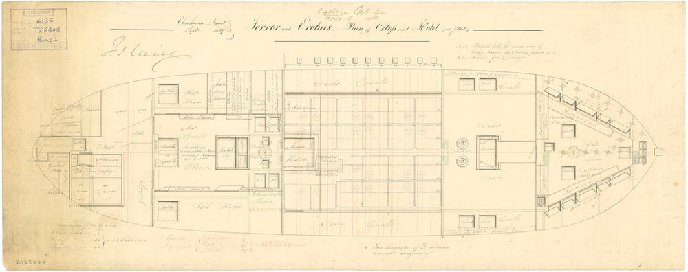Orlop deck plan of 'Terror' (1813); 'Erebus' (1826)