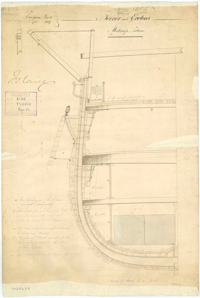 Midship section plan of 'Terror' (1813); 'Erebus' (1826)