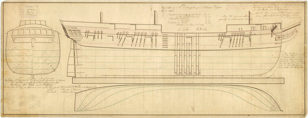 Lines and profile plan of 'Fury' (1814)