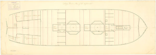 Upper deck plan of HMS Fure (circa 1816)
