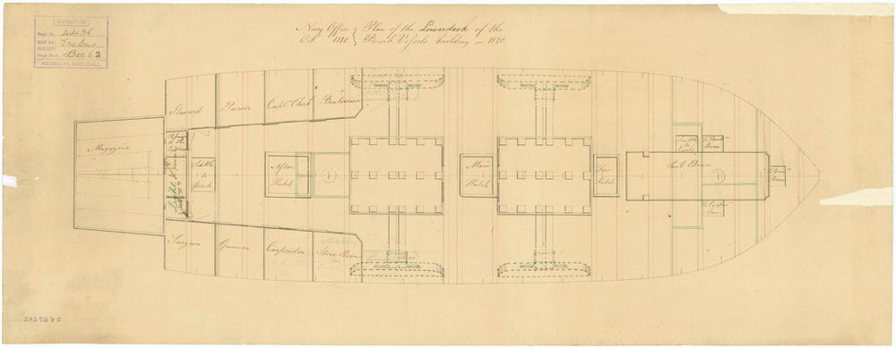 Plan of 'Erebus' (1826): lower deck as bomb vessel, 1820