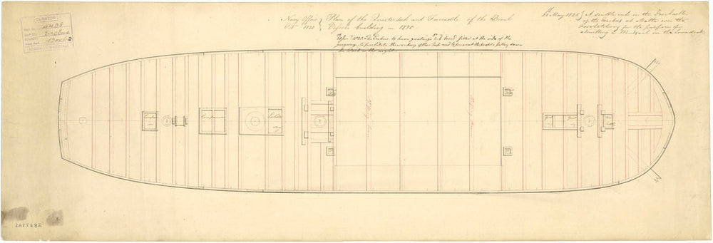 Plan of 'Erebus' (1826): quarter & forecastle deck as bomb vessel, 1820