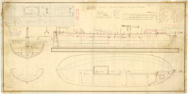 Lines & profile for a 2 gun Gunboat