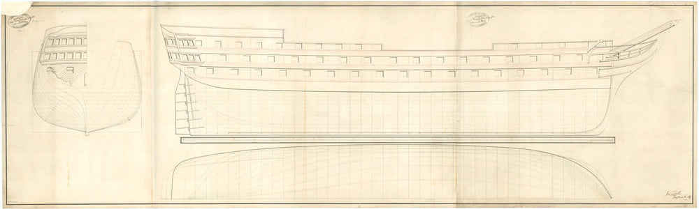 Design for a 215ft 90-gun, Second Rate, two-decker (no date).