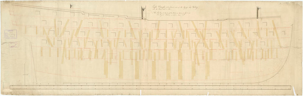 Inboard profile plan for 'Victory' (1765)