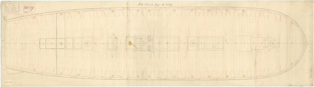 Middle deck plan for 'Victory' (1765)