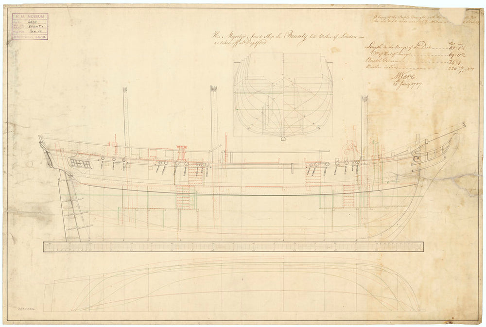 Lines and profile plan of 'Bounty' (1787)