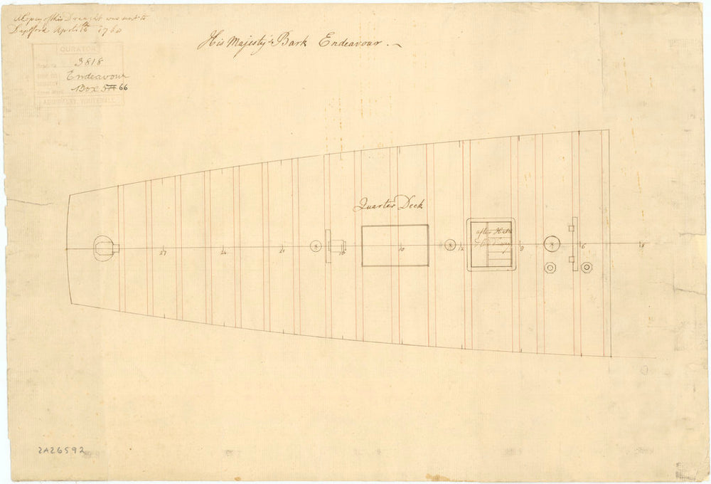 Plan of 'Endeavour' (1768)