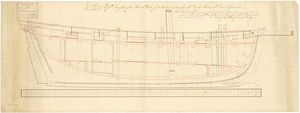 Inboard profile plan of vessels 'Surly' (1806) and 'Cheerful' (1806)