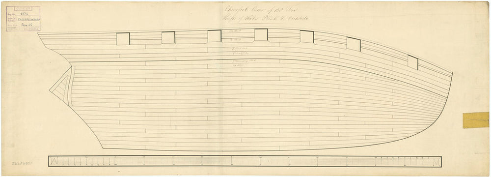 Plan of outboard works, expansion of vessels Surly (1806) and Cheerful (1806)