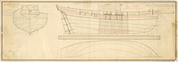 Lines plan of vessels 'Surly' (1806) and 'Cheerful' (1806)