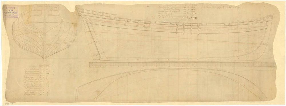 Lines & profile plans of Rattlesnake (1777)