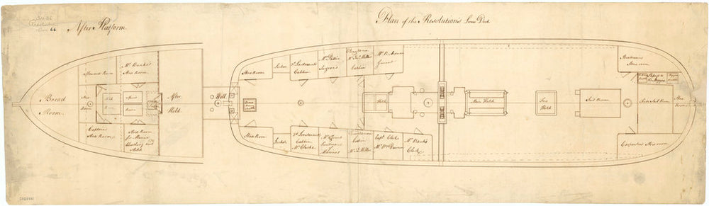 Upper deck plan of HMS 'Resolution' (1771)
