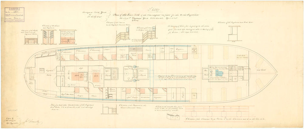 Lower deck plan of 'Investigator' (1848)